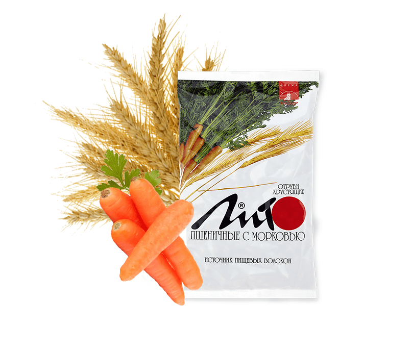 Отруби пшеничные хрустящие «ЛИТО» с кальцием и морковью
