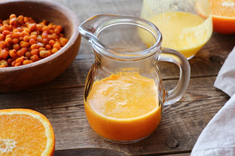 Льняной кисель с облепихой и апельсином