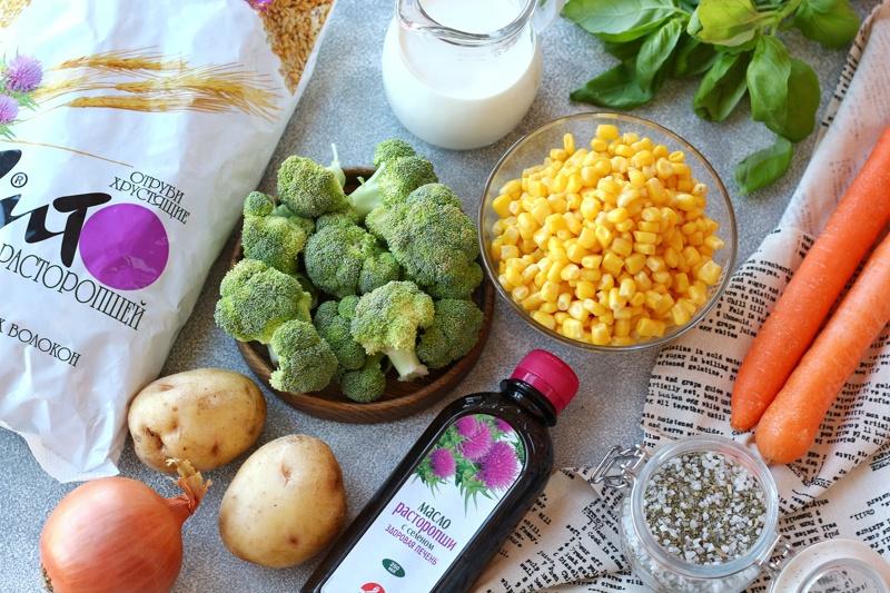 Суп-пюре из кукурузы с брокколи, отрубями и маслом расторопши