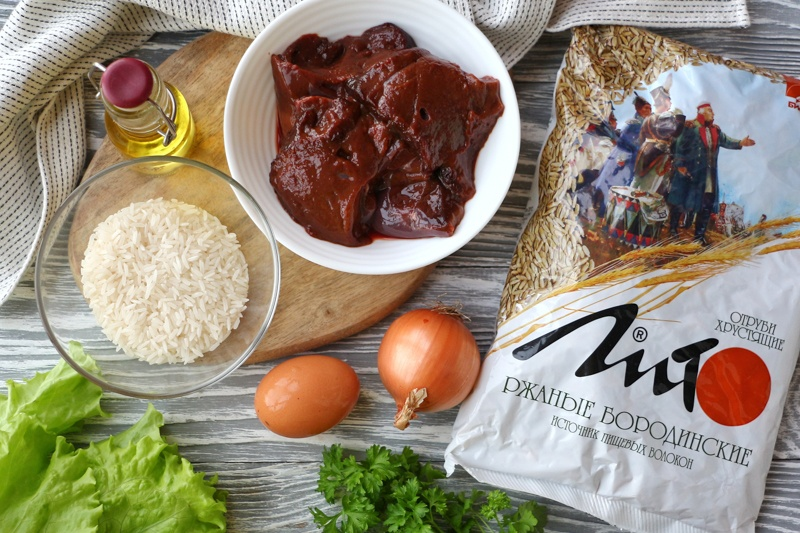 Оладьи из печени с рисом и отрубями