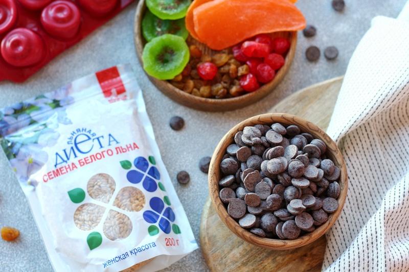 Шоколадные конфеты с сухофруктами и семенами льна