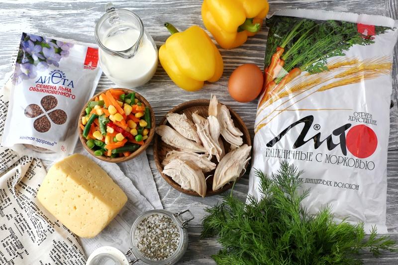 Перцы, фаршированные овощами с отрубями в сливочной заливке