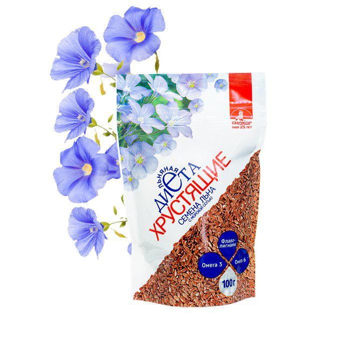 Фото 1 - Семена льна хрустящие «Биокор» с морской солью, 100 г.