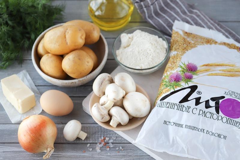 Картофельные котлеты с грибами и отрубями
