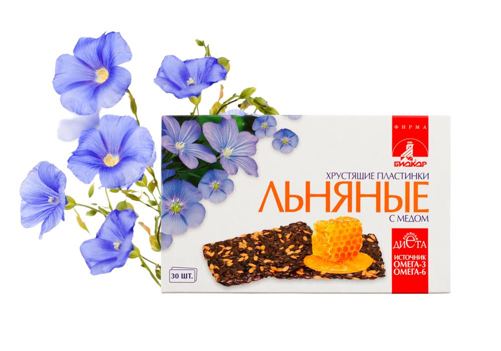 Фото 3 - Льняные хрустящие пластинки «Биокор» с медом, 30 пластинок.
