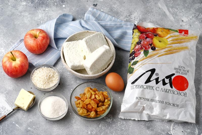 Творожно-рисовая запеканка с отрубями, яблоками и изюмом