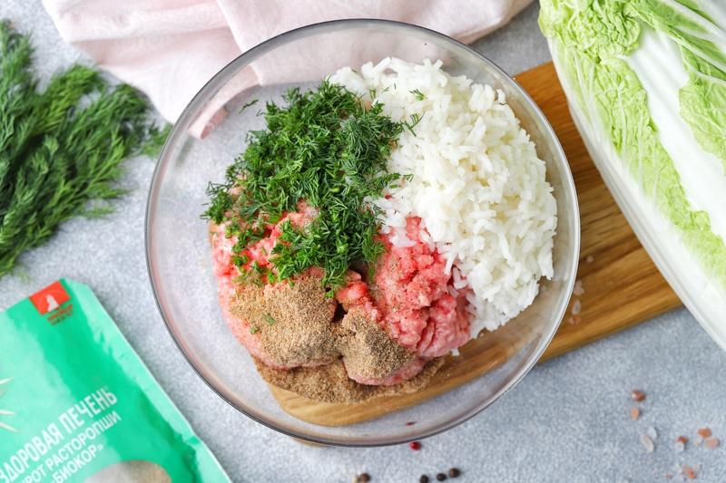 Голубцы с мясом, шротом расторопши и пекинской капустой