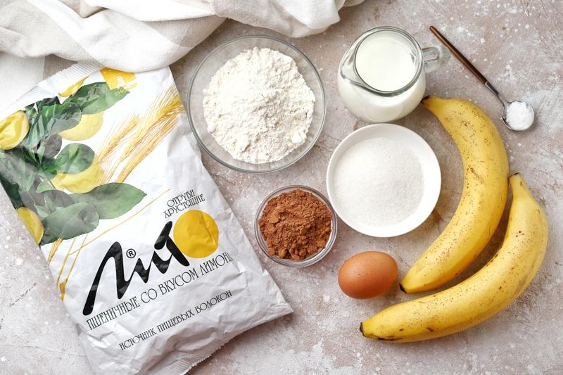 Шоколадные панкейки с бананом и отрубями
