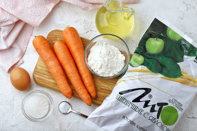 Морковные оладьи с отрубями