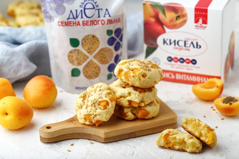 """Песочное печенье с киселем """"Джели +"""", семенами льна и абрикосами"""